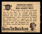 1950 Topps Bring Em Back Alive #53   Unexpected Danger Back Thumbnail