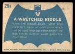 1966 Topps Batman Blue Bat Back #29 BLU  Wretched Riddle Back Thumbnail
