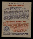 1949 Bowman #196  Fred Hutchinson  Back Thumbnail