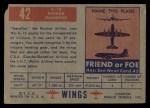 1952 Topps Wings #42   IL-12 Back Thumbnail