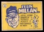 1970 Topps #452   -  Felix Millan All-Star Back Thumbnail