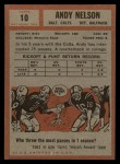 1962 Topps #10  Andy Nelson  Back Thumbnail