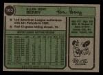 1974 Topps #163  Ken Berry  Back Thumbnail