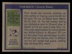 1972 Topps #337  Tom Mack  Back Thumbnail