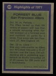 1972 Topps #269   -  Forrest Blue All-Pro Back Thumbnail