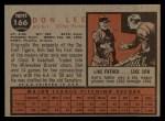 1962 Topps #166 NRM Don Lee  Back Thumbnail
