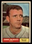 1961 Topps #349  Danny McDevitt  Front Thumbnail