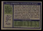 1972 Topps #219  Paul Robinson  Back Thumbnail