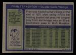 1972 Topps #225  Fran Tarkenton  Back Thumbnail