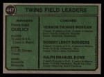 1974 Topps #447   -  Frank Quilici / Ver Morgan / Bob Rodgers / Ralph Rowe Twins Leaders   Back Thumbnail