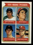 1974 Topps #608 ERR  -   Bob Apodaca / Dick Baney / John D'Acquisto / Mike Wallace Rookie Pitchers   Front Thumbnail