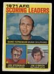 1972 Topps #7   -  Jan Stenerud / Garo Yepremian / Jim O'Brien AFC Scoring Leaders Front Thumbnail