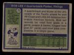 1972 Topps #71  Bob Lee  Back Thumbnail