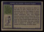 1972 Topps #73  Henry Allison  Back Thumbnail