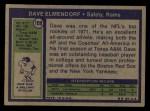 1972 Topps #109  Dave Elmendorf  Back Thumbnail