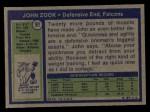 1972 Topps #91  John Zook  Back Thumbnail