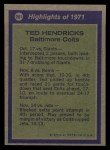 1972 Topps #281   -  Ted Hendricks All-Pro Back Thumbnail