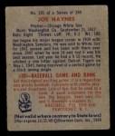 1949 Bowman #191  Joe Haynes  Back Thumbnail