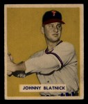 1949 Bowman #123  Johnny Blatnick  Front Thumbnail