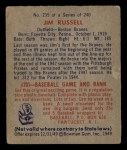 1949 Bowman #235  Jim Russell  Back Thumbnail