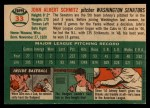 1954 Topps #33  Johnny Schmitz  Back Thumbnail
