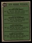 1974 Topps #602   -  Craig Swan / Glenn Abbott / Rick Henninger / Dan Vossler Rookie Pitchers    Back Thumbnail