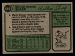 1974 Topps #519  Bill Sharp  Back Thumbnail