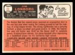 1966 Topps #93  Jim Lonborg  Back Thumbnail
