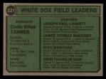 1974 Topps #221   -  Chuck Tanner / Joe Lonnett / Jim Mahoney / Al Monchak / Johnny Sain White Sox Leaders   Back Thumbnail