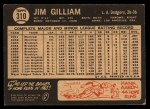1964 Topps Venezuelan #310  Jim Gilliam  Back Thumbnail