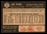 1964 Topps Venezuelan #217  Jim King  Back Thumbnail