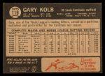 1964 Topps Venezuelan #119  Gary Kolb  Back Thumbnail
