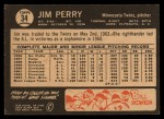 1964 Topps Venezuelan #34  Jim Perry  Back Thumbnail