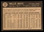 1964 Topps Venezuelan #150  Willie Mays  Back Thumbnail
