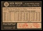 1964 Topps Venezuelan #160  Ken Boyer  Back Thumbnail