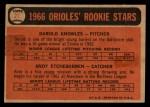 1966 Topps Venezuelan #27   -  Andy Etchebarren / Darold Knowles Orioles Rookies Back Thumbnail