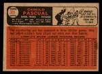 1966 Topps Venezuelan #305  Camilo Pascual  Back Thumbnail