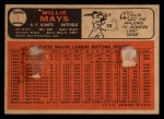 1966 Topps Venezuelan #1  Willie Mays  Back Thumbnail