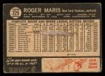 1964 Topps Venezuelan #225  Roger Maris  Back Thumbnail