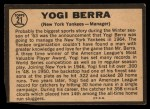 1964 Topps Venezuelan #21  Yogi Berra  Back Thumbnail