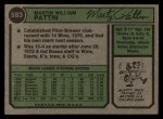 1974 Topps #583  Marty Pattin  Back Thumbnail
