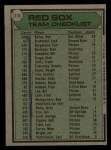 1979 Topps #214   -  Don Zimmer Red Sox Team Checklist Back Thumbnail