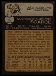 1973 Topps #6  Mac Scarce  Back Thumbnail