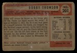 1954 Bowman #201  Bobby Thomson  Back Thumbnail