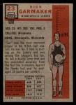 1957 Topps #23  Dick Garmaker  Back Thumbnail