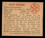 1950 Bowman #106  Cliff Fannin  Back Thumbnail