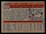 1957 Topps #219  Tom Acker  Back Thumbnail