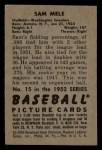 1952 Bowman #15  Sam Mele  Back Thumbnail