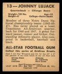 1948 Leaf #13 COR Johnny Lujack  Back Thumbnail