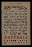 1951 Bowman #112  Willie Jones  Back Thumbnail